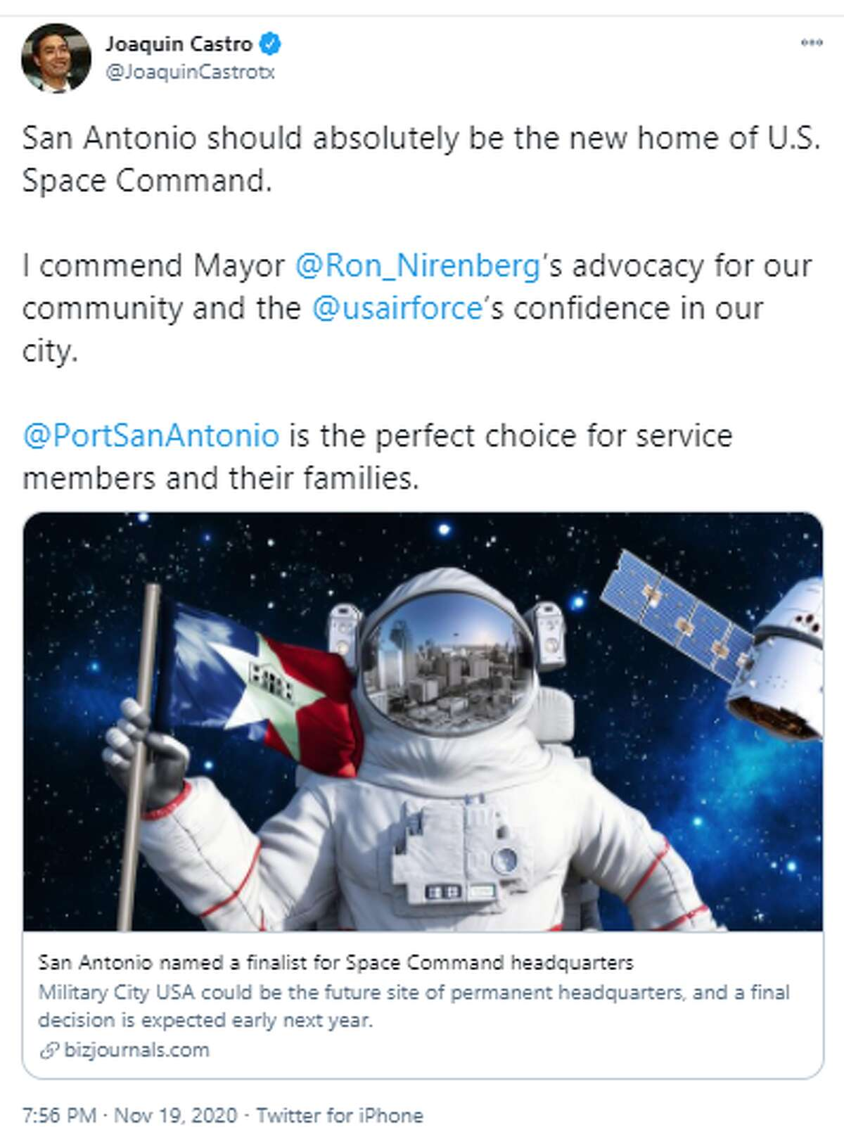 @JoaquinCastrotx: San Antonio should absolutely be the new home of U.S. Space Command. I commend Mayor @Ron_Nirenberg's advocacy for our community and the @usairforce's confidence in our city. @PortSanAntonio is the perfect choice for service members and their families.