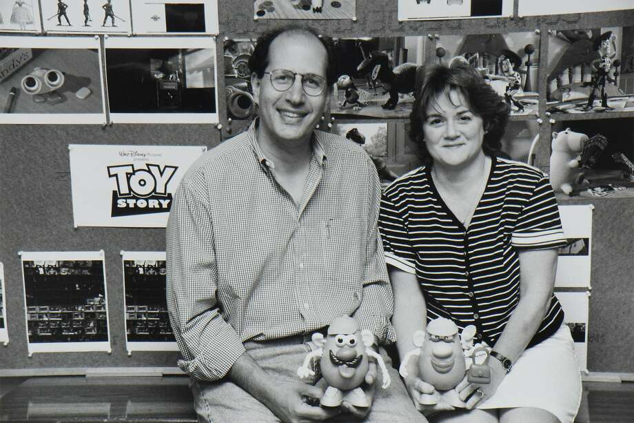 """""""Toy Story"""" producers Ralph Guggenheim and Bonnie Arnold working at Pixar's Point Richmond facility. Photo: Pixar Animation Studios"""