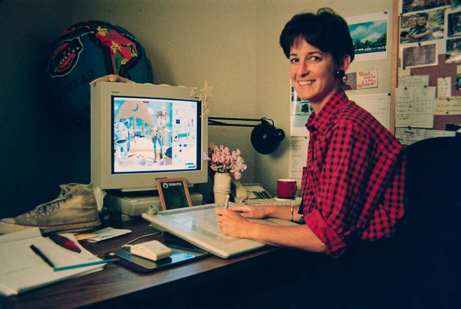 """Pixar artist Tia Kratter works at her desk during the making of the 1995 film """"Toy Story."""" Photo: Pixar Animation Studios"""