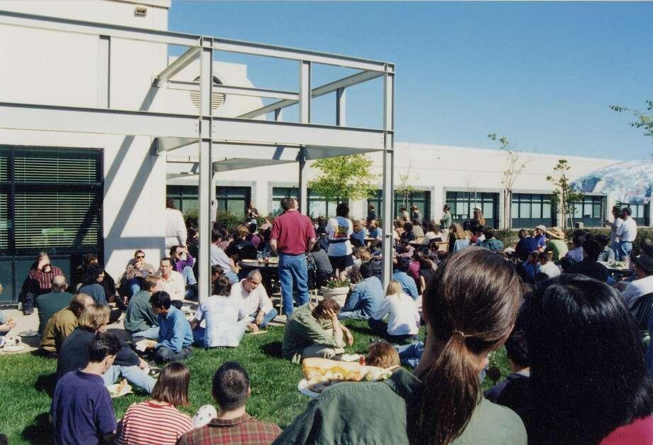 Pixar employees congregate outside their Point Richmond office park at 1001 W. Cutting Blvd. Photo: Pixar Animation Studios