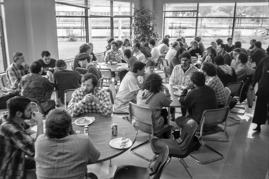 Pixar employees eat in the cafeteria of their Point Richmond office park. Photo: Pixar Animation Studios