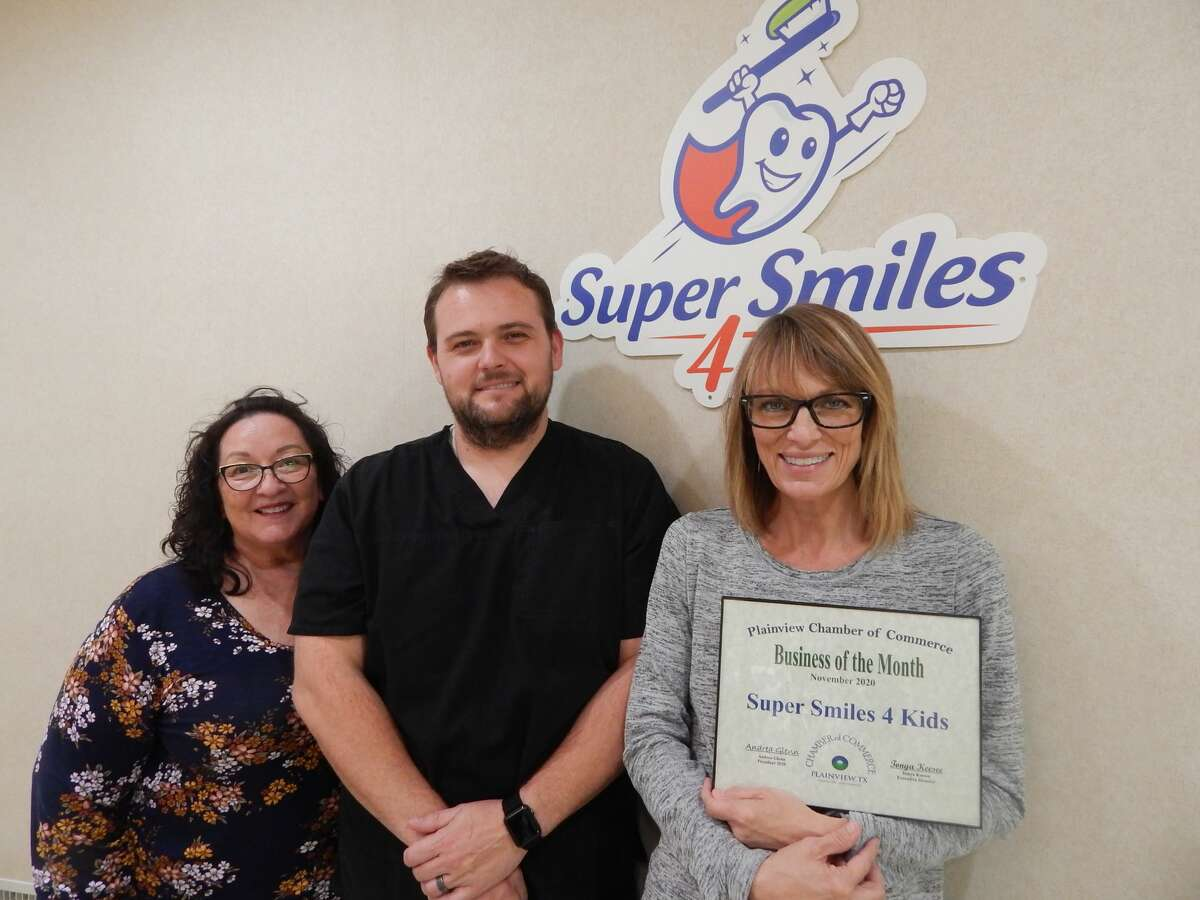 Super Smiles 4 Kids was also named Business of the Month. Pictured is Dr. Smith, Regina Oldfield Hygienist, & Becky Onda Businesses Manger.