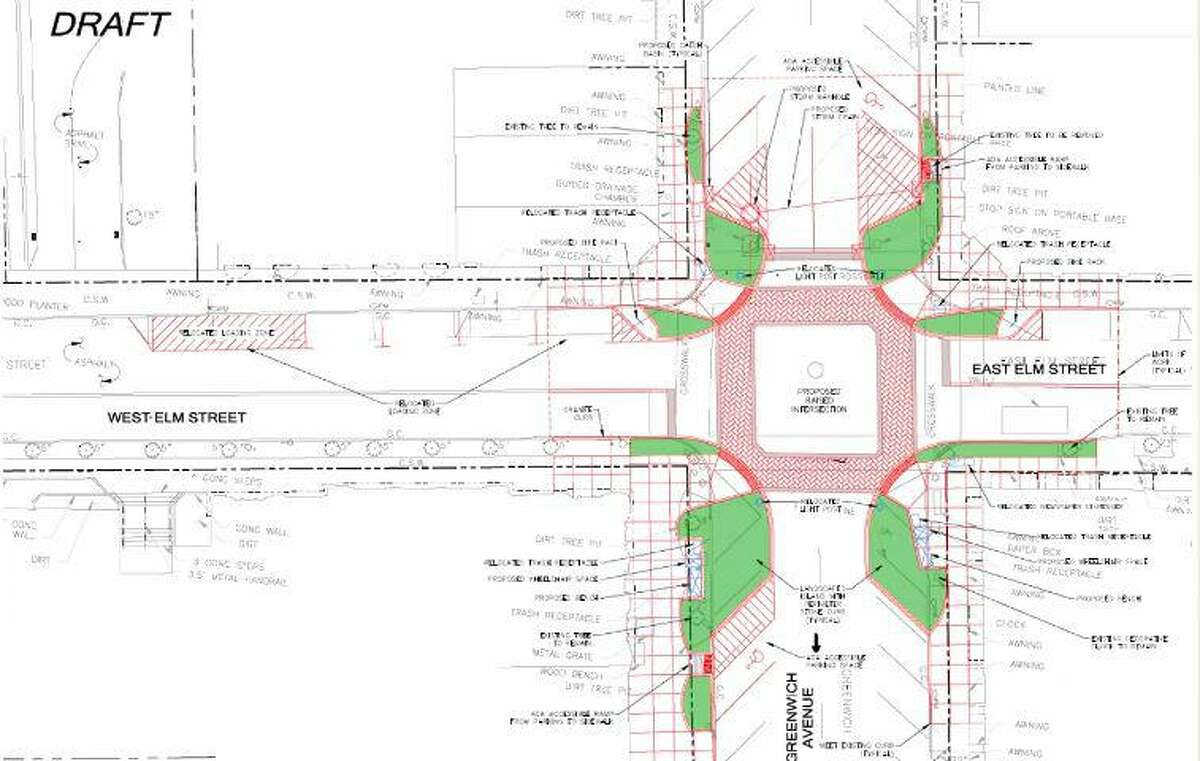Proposed improvements to the intersection of Greenwich Avenue and Elm Street.
