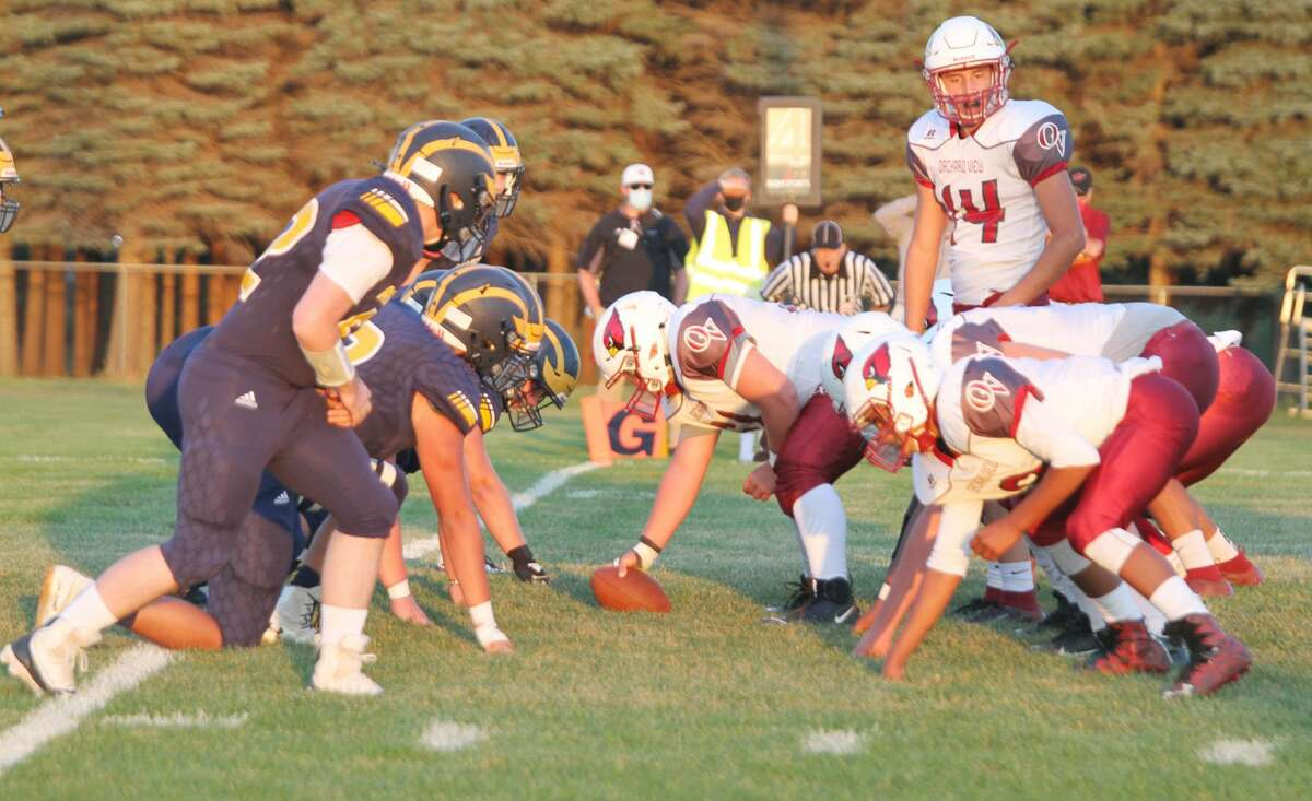 The Manistee football team lines up against Orchard View in this season's home opener on Sept. 25, 2020.