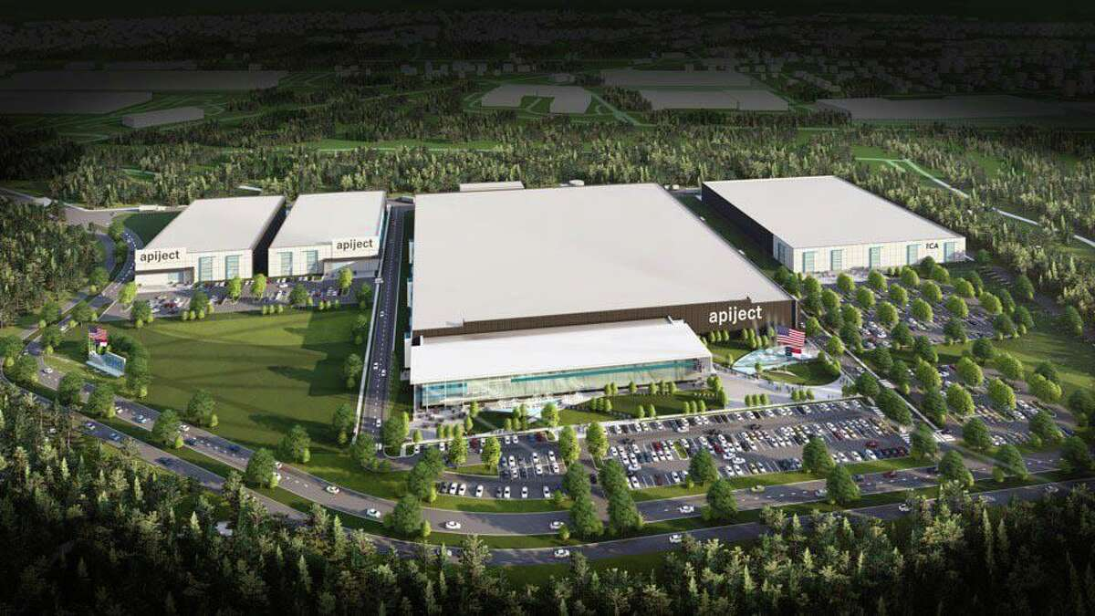 An architect's rendering of ApiJect's planned facility in Research Triangle Park, where it intends to build operations capable of filling and finishing up to 3 billion doses annually of sterile liquid pharmaceuticals, including coronavirus vaccines.