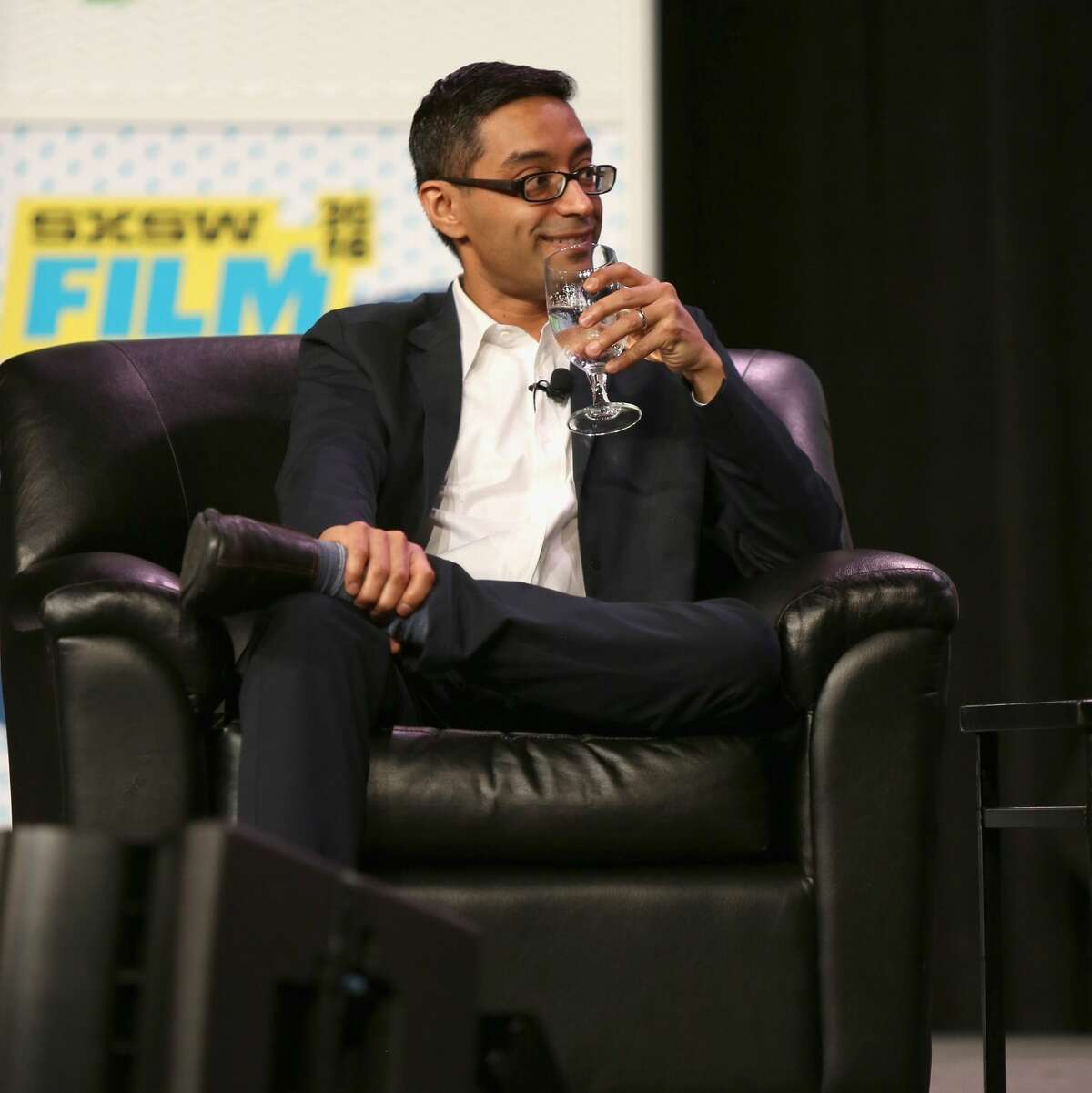 AUSTIN, TX - MARCH 15: Farhad Manjoo, columnist at The New York Times speaks onstage at 'Stewart Butterfield in Conversation with Farhad Manjoo' during the 2016 SXSW Music, Film + Interactive Festival at Austin Convention Center on March 15, 2016 in Austin, Texas. (Photo by Mindy Best/Getty Images for SXSW)