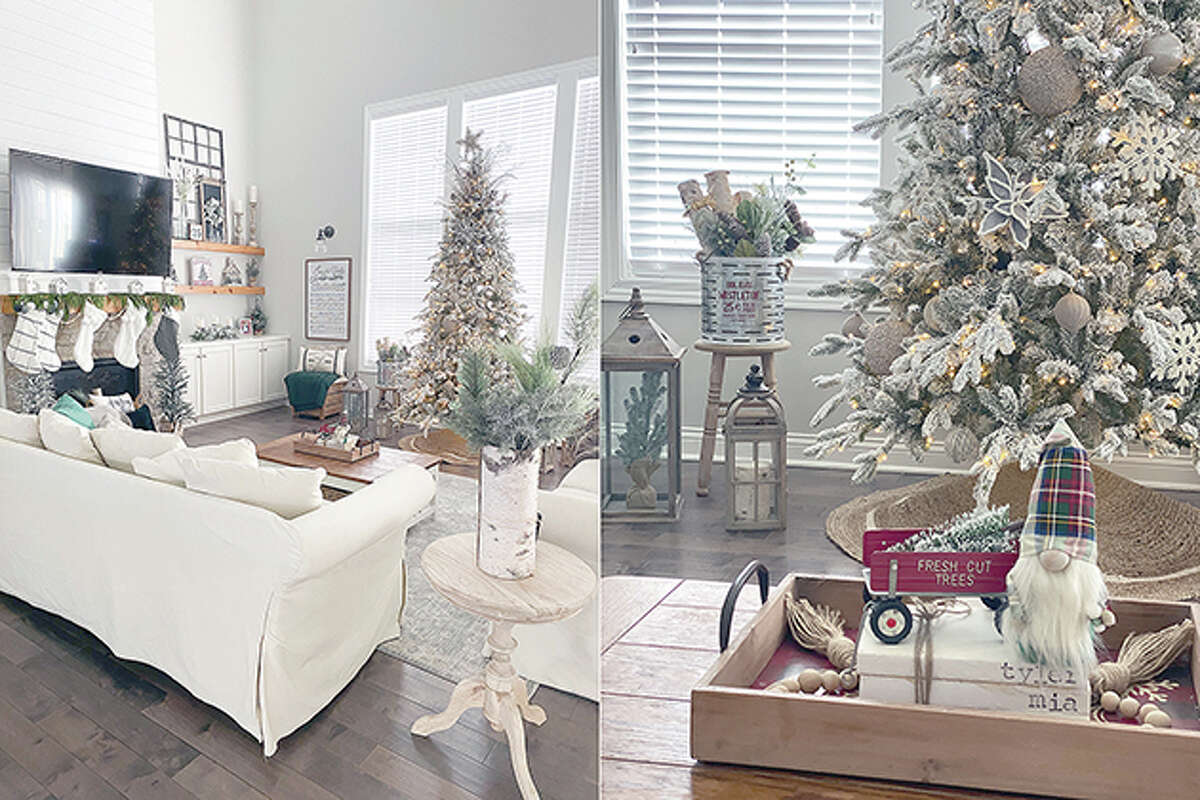 This combination photo shows views of the Christmas-decorated interior of Danielle Martin's home. Martin is a big Christmas person, but usually waits to decorate until the day after Thanksgiving. This year she got busy on Nov. 1.