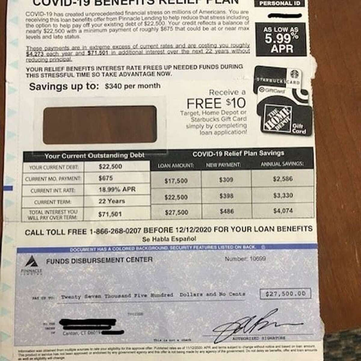 Police believe this mailer sent to a Canton resident is a fraudulent scam, and are warning residents to be on the lookout for suspicious offers during the COVID-19 pandemic