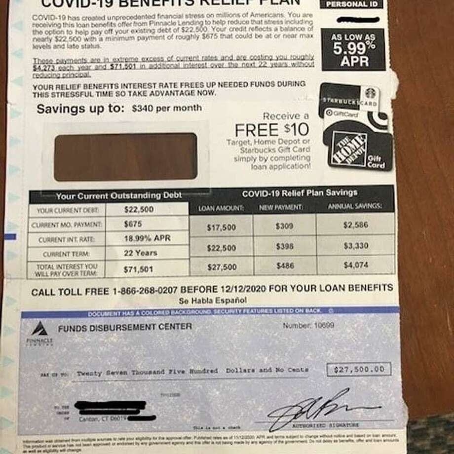 Police believe this mailer sent to a Canton resident is a fraudulent scam, and are warning residents to be on the lookout for suspicious offers during the COVID-19 pandemic Photo: Contributed / Canton Police Department