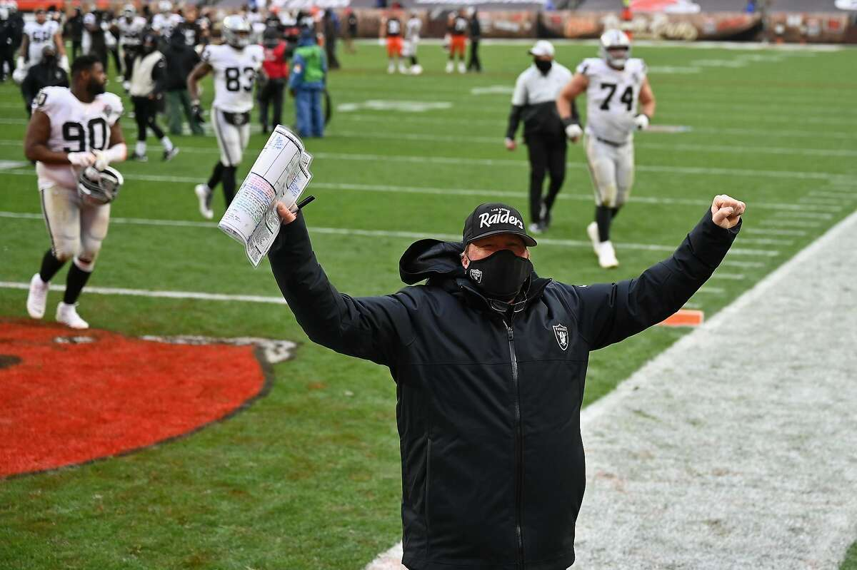 Raiders head coach Jon Gruden is known for openly celebrating victories, as he did earlier this month in Cleveland. Reports say he went a bit further than usual after a win in Kansas City last month.