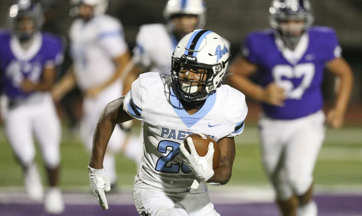 Paetow Panther running back Damon Bankston (26) rushes against the Angleton Wildcats in the fourth quarter on November 20, 2020 at Angleton Wildcat Stadium in Angleton, TX.