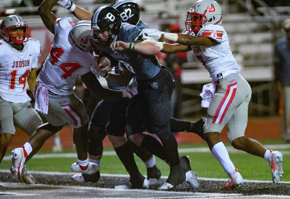 Steele quarterback Wyatt Begeal runs for a score against Judson during high school football action at Lehnhoff Stadium in Schertz on Friday, Nov. 20, 2020.