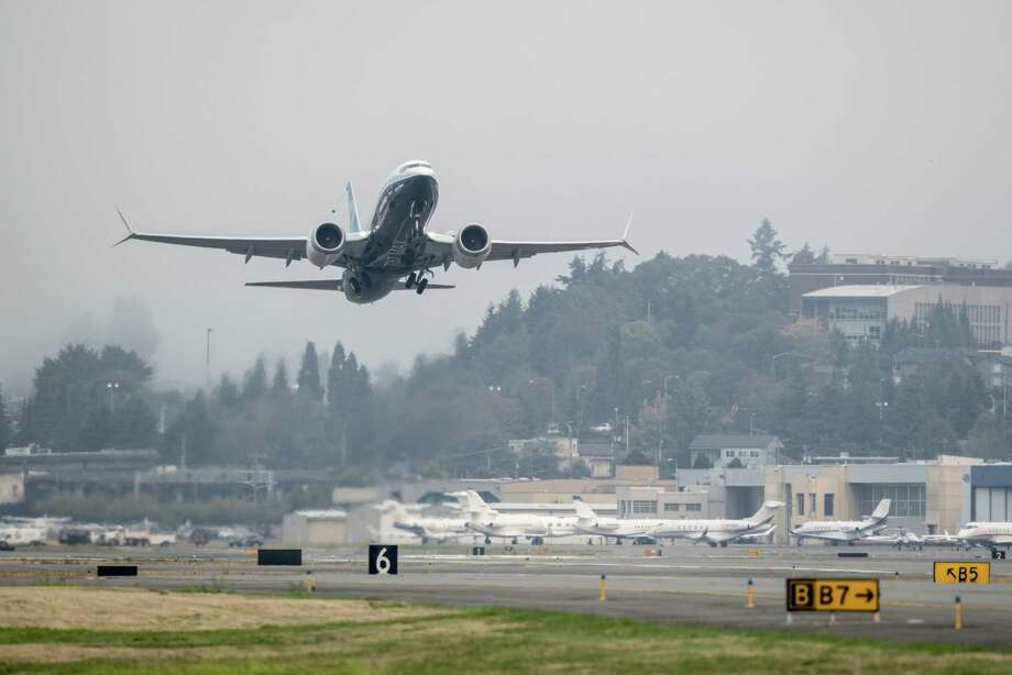 A Boeing 737 Max takes off during a test flight in Seattle on Sept. 30, 2020. Photo: Bloomberg Photo By Chona Kasinger. / © 2020 Bloomberg Finance LP