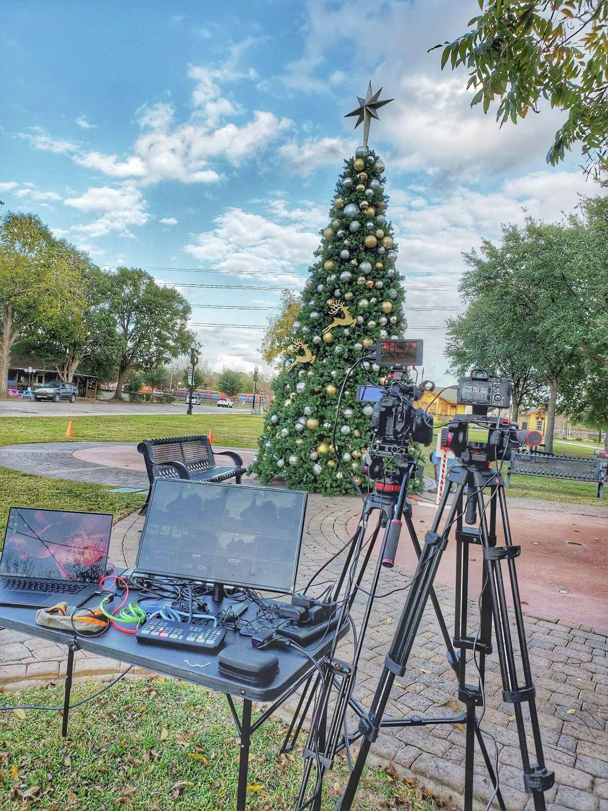 Cameras are set up in preparation for the virtual Christmas tree lighting ceremony in Tomball, which was live streamed on Facebook Nov. 20, 2020.