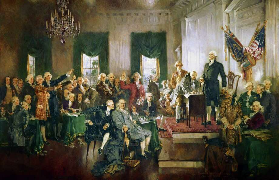 "The painting ""Scene at the Signing of the Constitution of the United States"" by Howard Chandler Christy, which can be viewed on east stairway of the House side of the U.S. Capitol. Photo: Architect Of The Capitol. / The Washington Post"