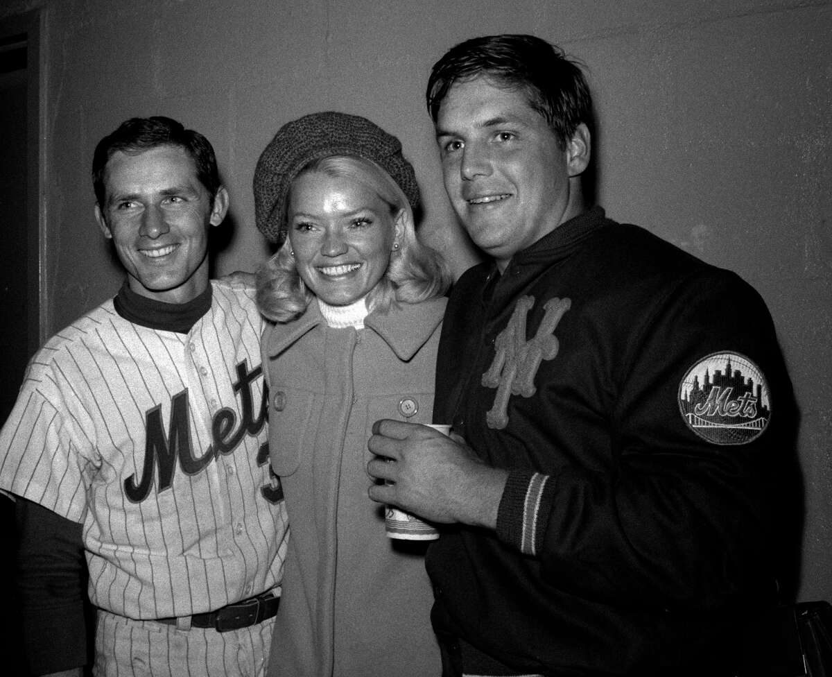 UNITED STATES - APRIL 22: New York Mets' Bud Harrelson (left) and Tom Seaver, along with Seaver's wife Nancy, celebrate Seaver's consectutive strikeout record (10) and new day-game record (19). (Dan Farrell/New York Daily News) Tom Seaver, seen here at right with his wife Nancy and teammate Bud Harrelson, lived in Greenwich for decades before moving to California. - Photo courtesy of Simon and Schuster.