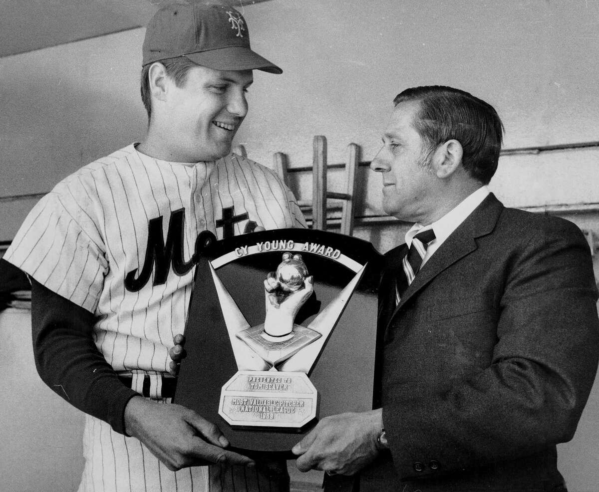 UNITED STATES - APRIL 22: Young in Heart, Tom Seaver of New York Mets' receives Cy Young Award from Jack Land, secretary treasurer of Baseball Writers Assn. of America, prior to game at Shea Stadium. (Dan Farrell/New York Daily News) Tom Seaver won the Cy Young Award three times while a member of the Mets, including in 1969 the year Seaver and the Miracle Mets shocked the world. -