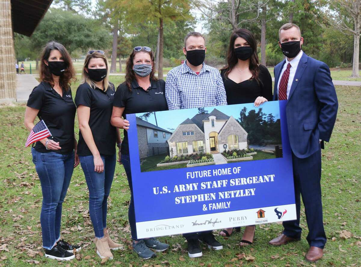 Brandi Coatsworth, Martha Gros, and Lona Shippe of Howard Hughes Corporation along with Kelle Gandy and Matthew Gerdes of Perry Homes donated the land and the building of the home to Stephen Netzley.