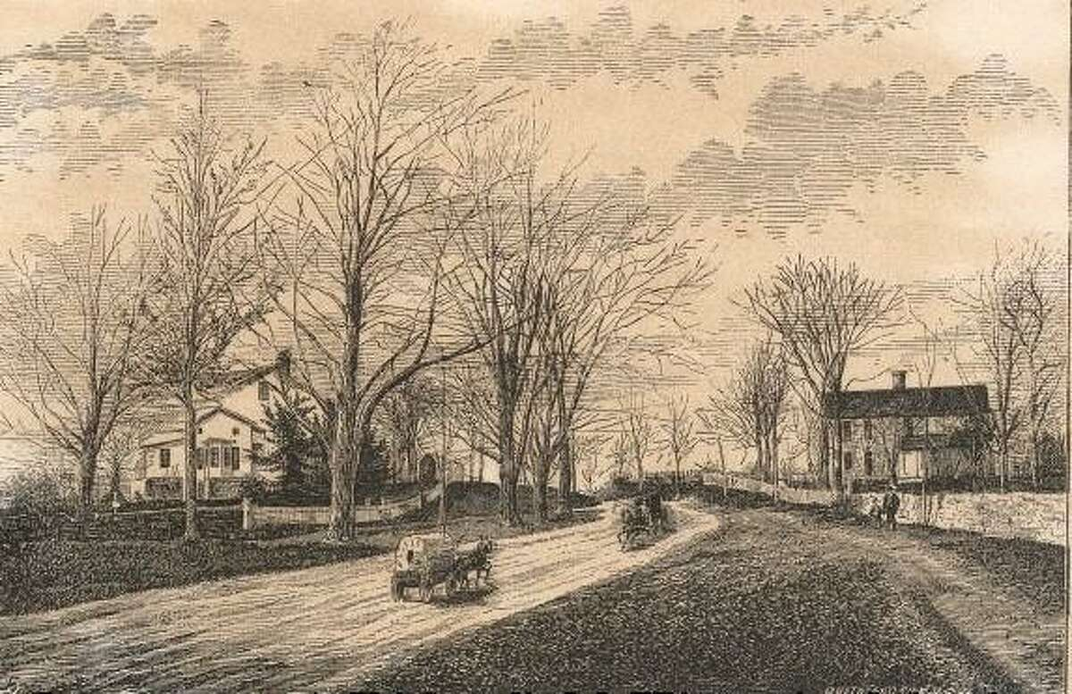 """The site of the main confrontation of the Battle of Ridgefield is shown in an engraving from the Rev. Daniel W. Teller's 1878 book, """"The History of Ridgefield Connecticut."""" Work has started on researching the Battle of Ridgefield with the formation of an advisory group to oversee a National Park Service American Battlefield Protection grant, which was obtained this year, 2020, by the Ridgefield Historical Society."""