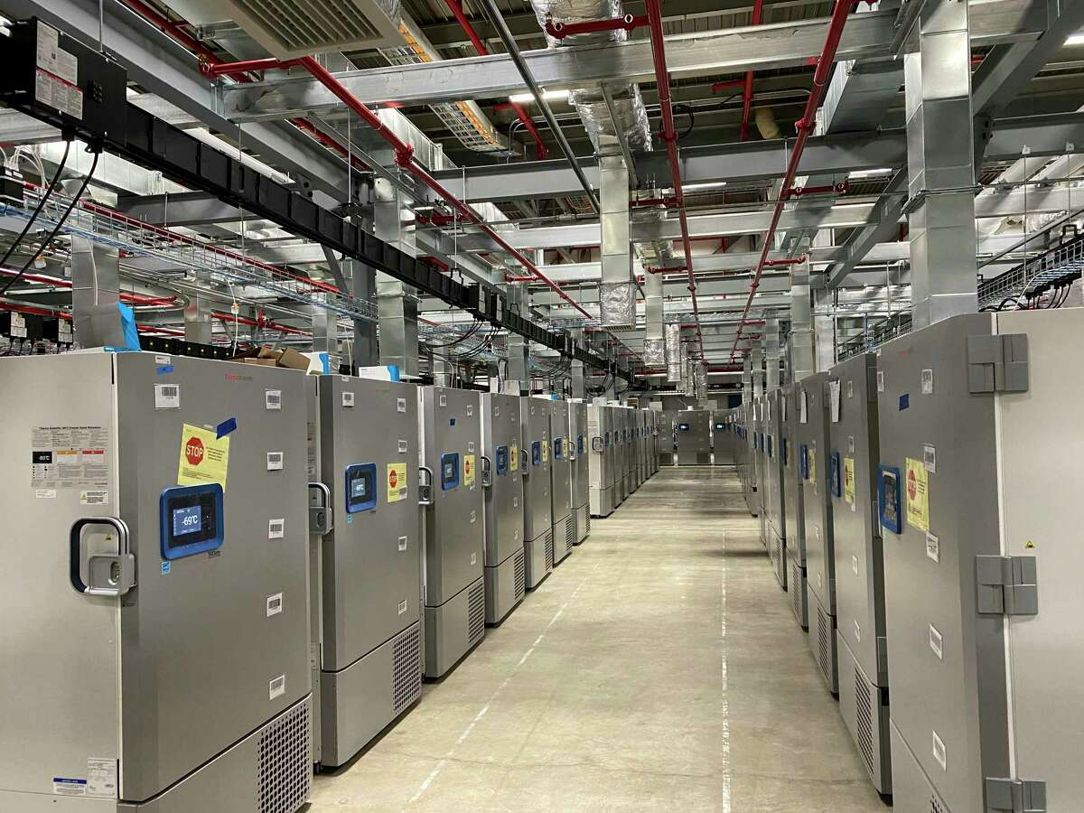 This photo provided by Pfizer shows Pfizer's COVID-19 vaccine storage facility in Kalamazoo, Mich. Pfizer has asked U.S. regulators to allow emergency use of its COVID-19 vaccine, starting a process that could bring first shots as early as next month.