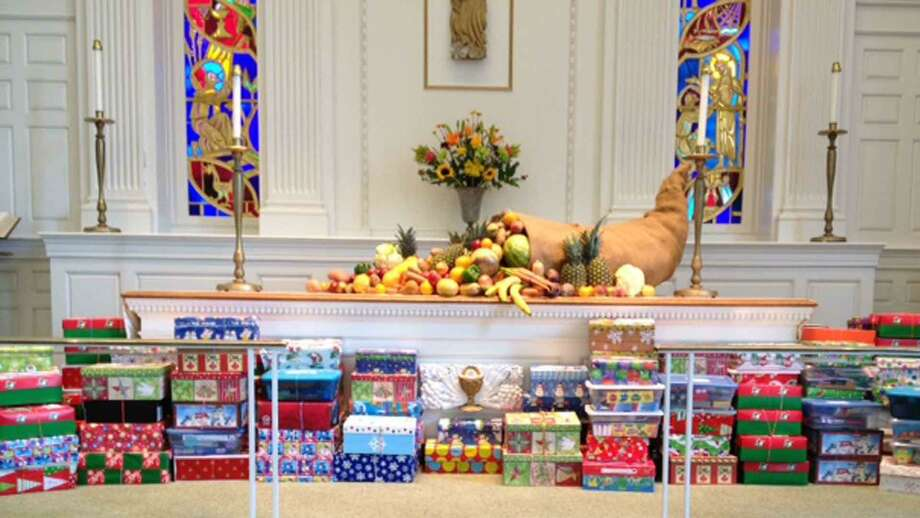 Jesse Lee Church, located at 207 Main St. in RIdgefield is currently having its Shoebox Holiday Gift Drive. People who want to participate in the drive can leave their shoebox gifts at the church's Shoebox Gift Donation Station (pictured) for the drive. The station is through the church's double doors facing Main Street. Gifts can be dropped off anytime between now and Sunday, Dec. 6. Photo: Jesse Lee Church / Contributed Photo