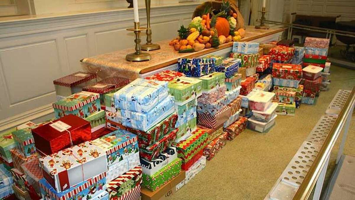 Jesse Lee Church, located at 207 Main St. in RIdgefield is currently having its Shoebox Holiday Gift Drive. People who want to participate in the drive can leave their shoebox gifts at the church's Shoebox Gift Donation Station (pictured) for the drive. The station is through the church's double doors facing Main Street. Gifts can be dropped off anytime between now and Sunday, Dec. 6.