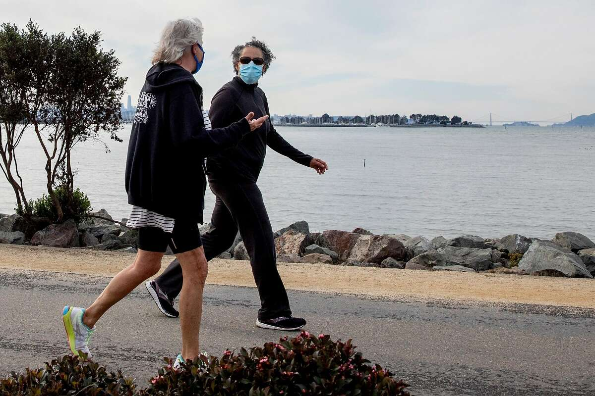 Saturday's mild weather lures visitors to the Emeryville waterfront.