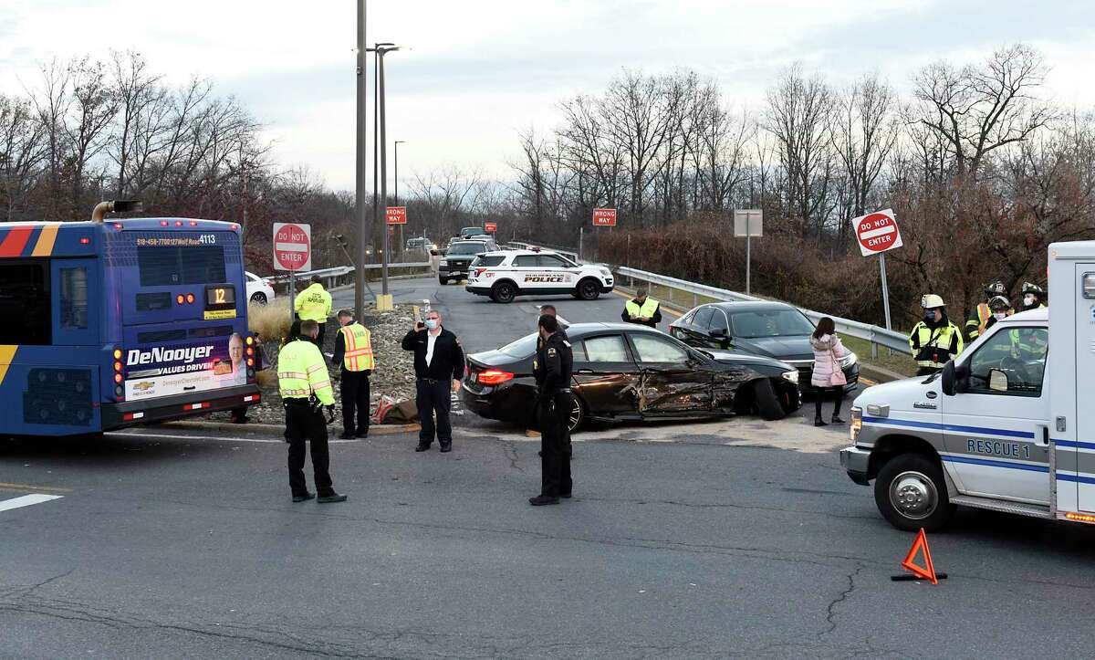 The scene of a multi-car accident at the I-87 ramp at Crossgates Mall on Saturday, Nov. 21, 2020 in Albany, N.Y. A CDTA bus was involved. (Lori Van Buren/Times Union)