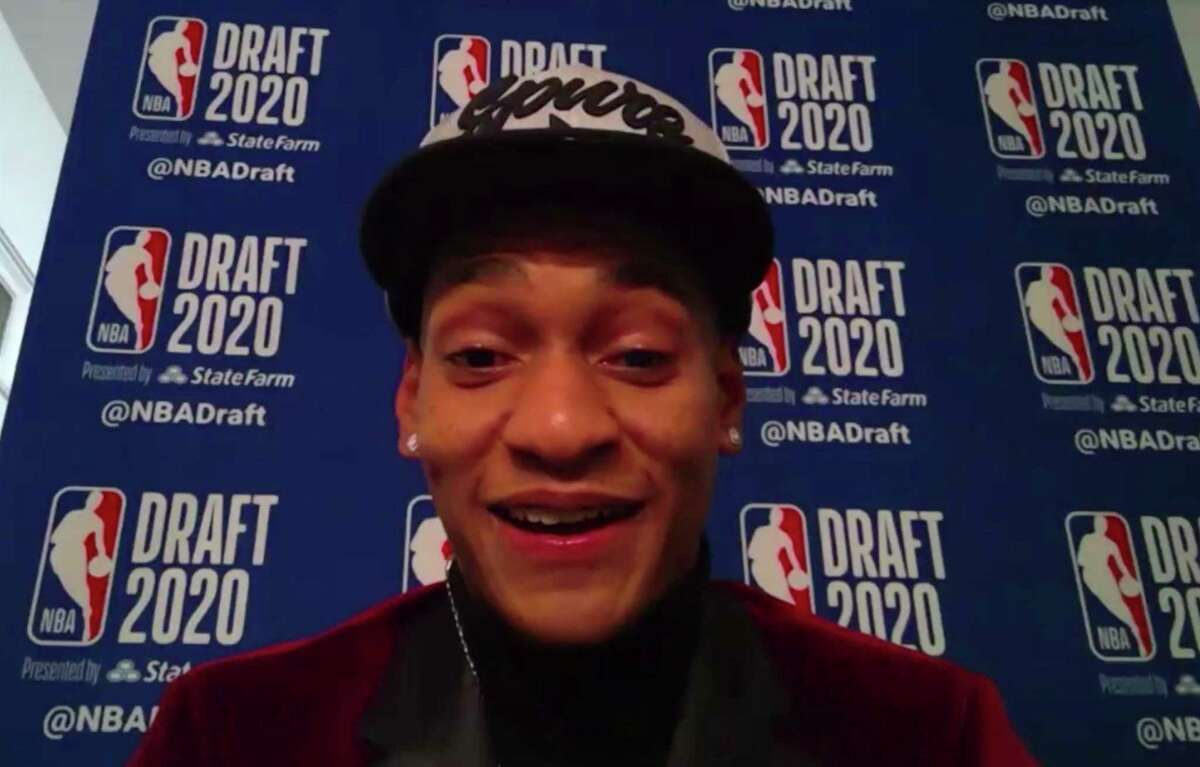 Devin Vassell speaks to reporters by video after being chosen by the San Antonio Spurs during the NBA basketball draft, Wednesday, Nov. 18, 2020. (Courtesy NBA via AP)
