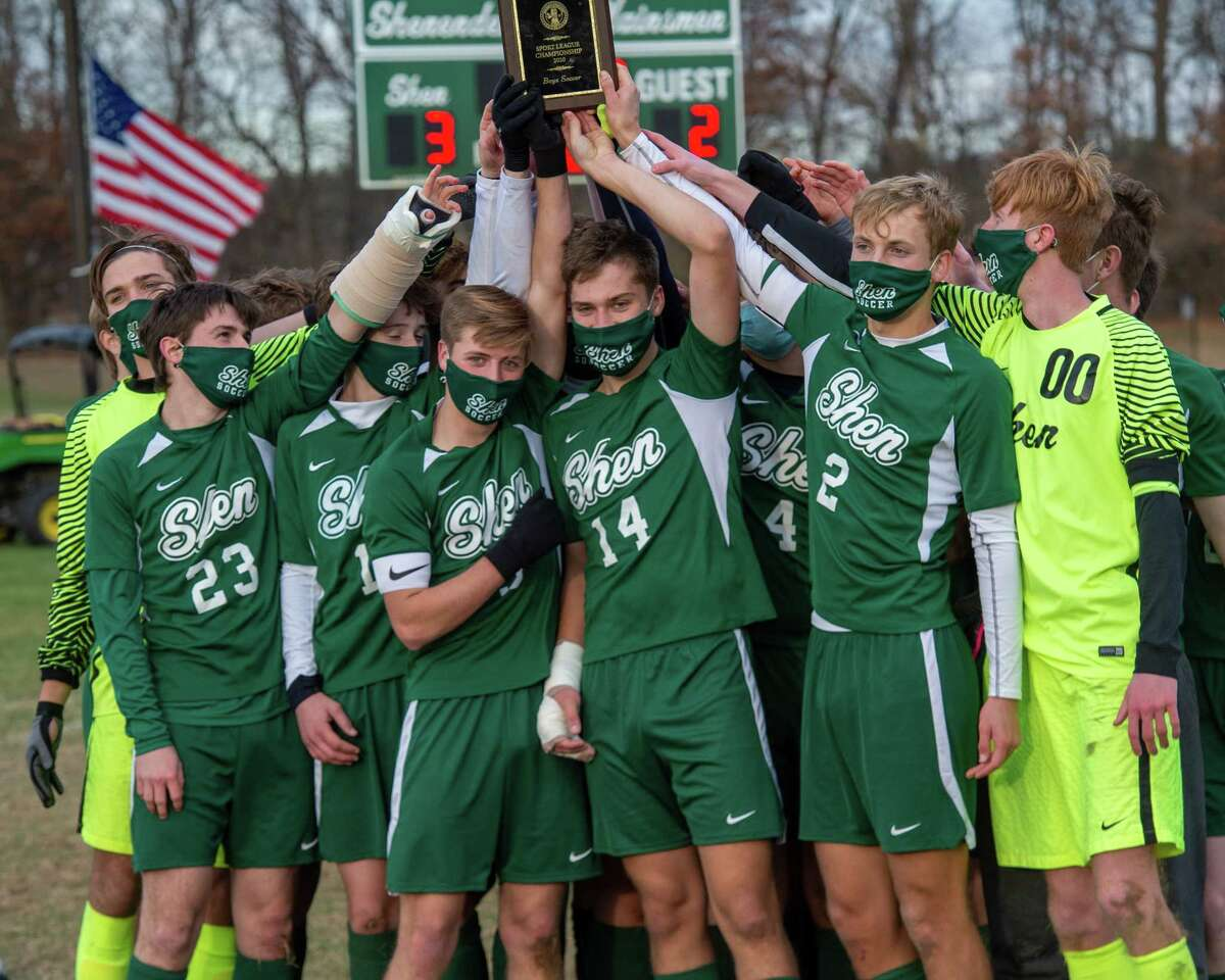 The Shenendehowa soccer team after beating CBA 3-2 to win the the Suburban Council championship at Shenendehowa High School in Clifton Park, NY, on Saturday, Nov. 21, 2020 (Jim Franco/special to the Times Union.)