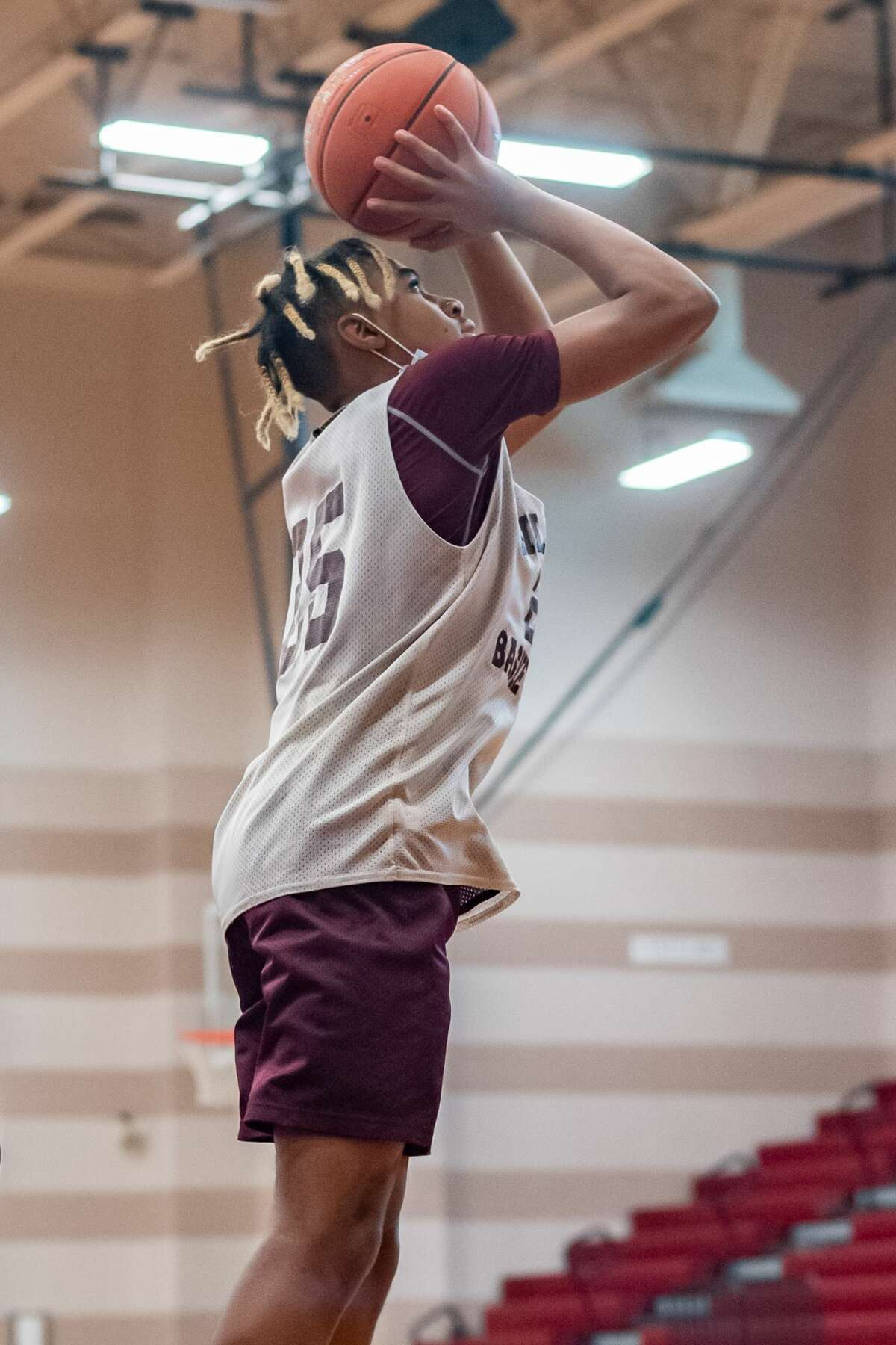 Sophomore Jerrick Harper takes a shot during practice. Silsbee High School basketball, along with other SETX teams, is in a rebuilding mode this season. Photo made on November 19, 2020. Fran Ruchalski/The Enterprise