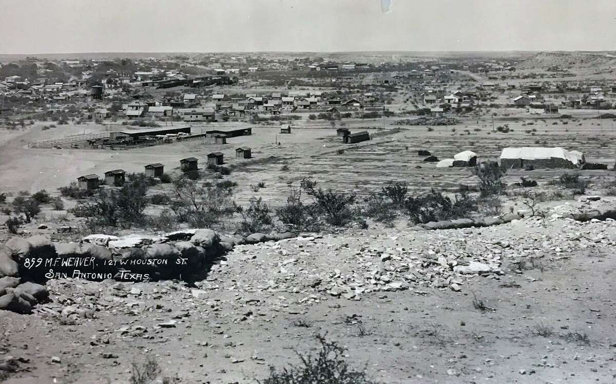 This is another section of a panoramic photo taken in 1918 by Los Angeles photographer Miles F. Weaver, who had an office in San Antonio. The photo depicts a military installation, most likely a training camp at Fort Duncan in Eagle Pass.