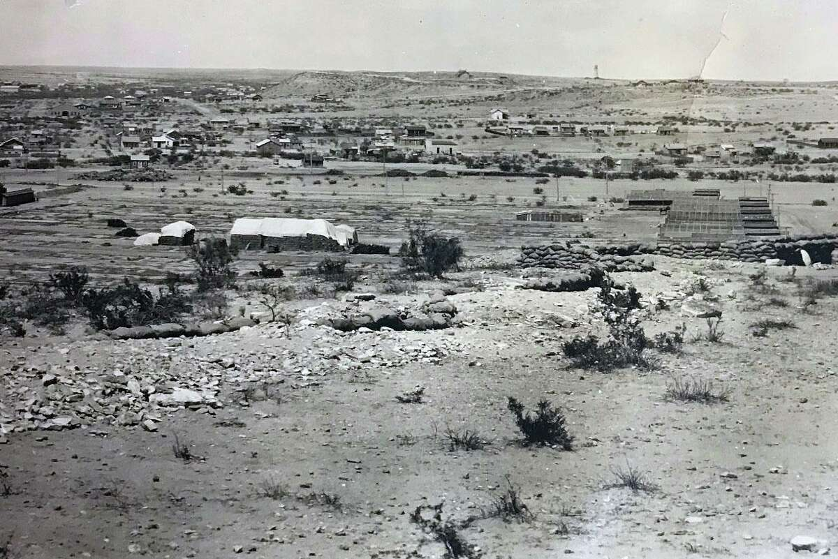 This section of a panoramic photo taken by Los Angeles photographer Miles F. Weaver depicts a military installation in Texas circa 1918, which experts say is most likely a training camp at Fort Duncan in Eagle Pass. The town can be seen in the background.