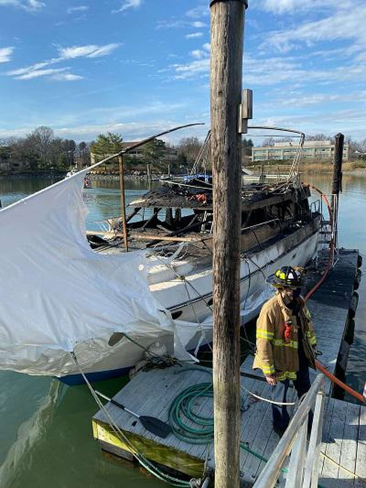 Fire officials responded to a boat fire at Dolphin Cove on Saturday afternoon.