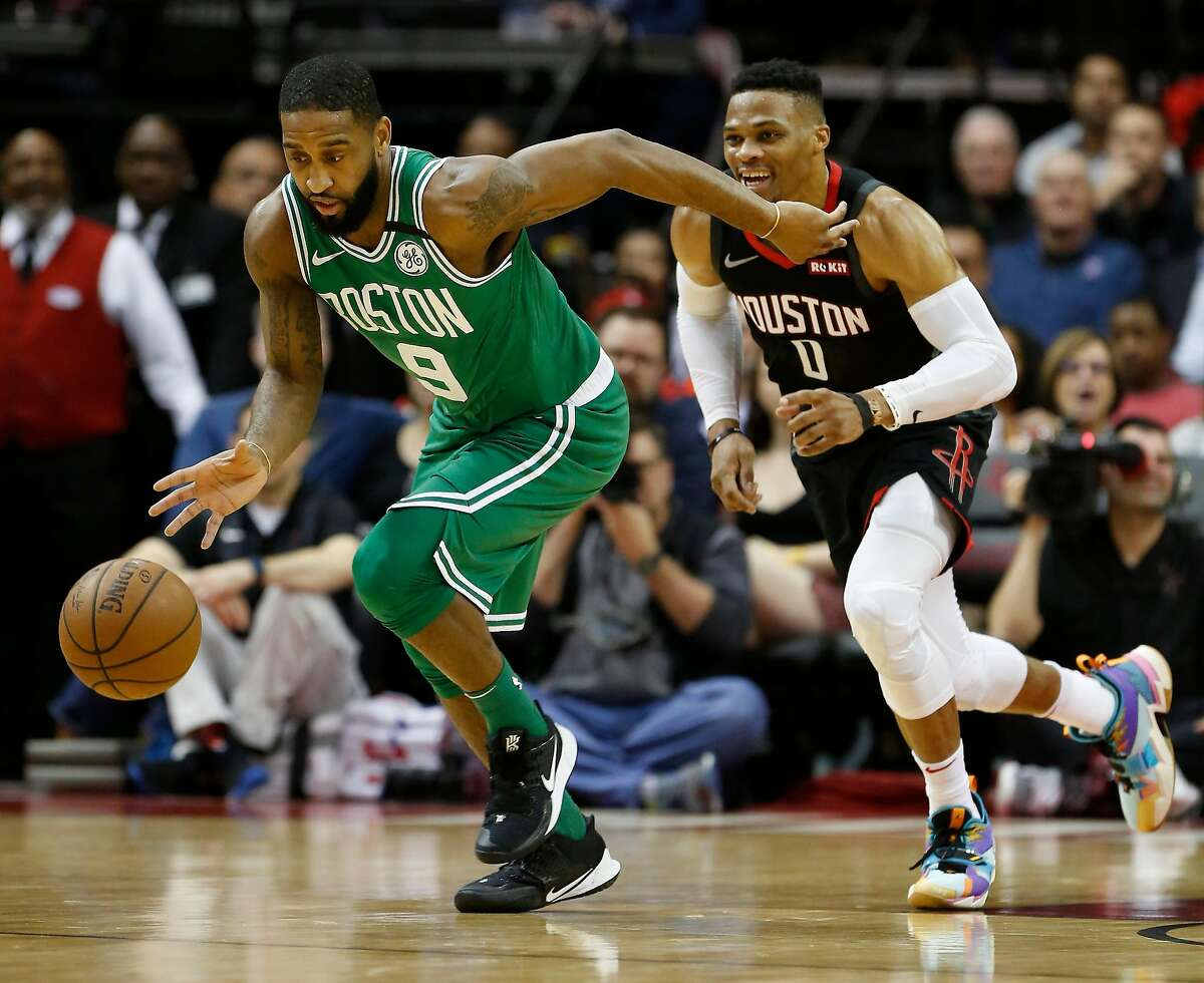 Boston Celtics guard Brad Wanamaker (9) steals the ball from Houston Rockets guard Russell Westbrook (0) during the first half of an NBA basketball game at Toyota Center on Tuesday, Feb. 11, 2020, in Houston.