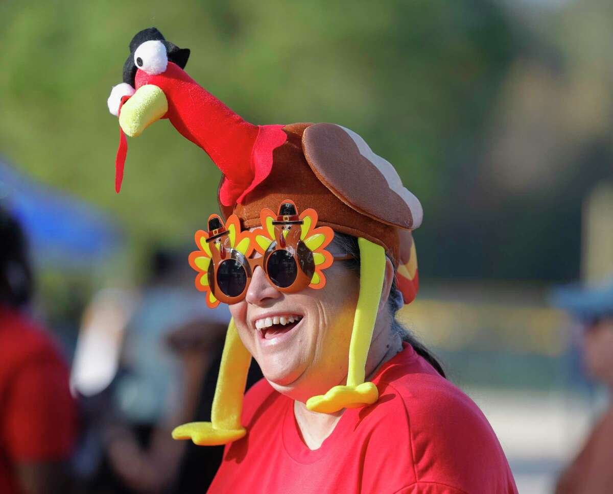 Christie Simpson shares a laugh while participating in the Turkey Trot.