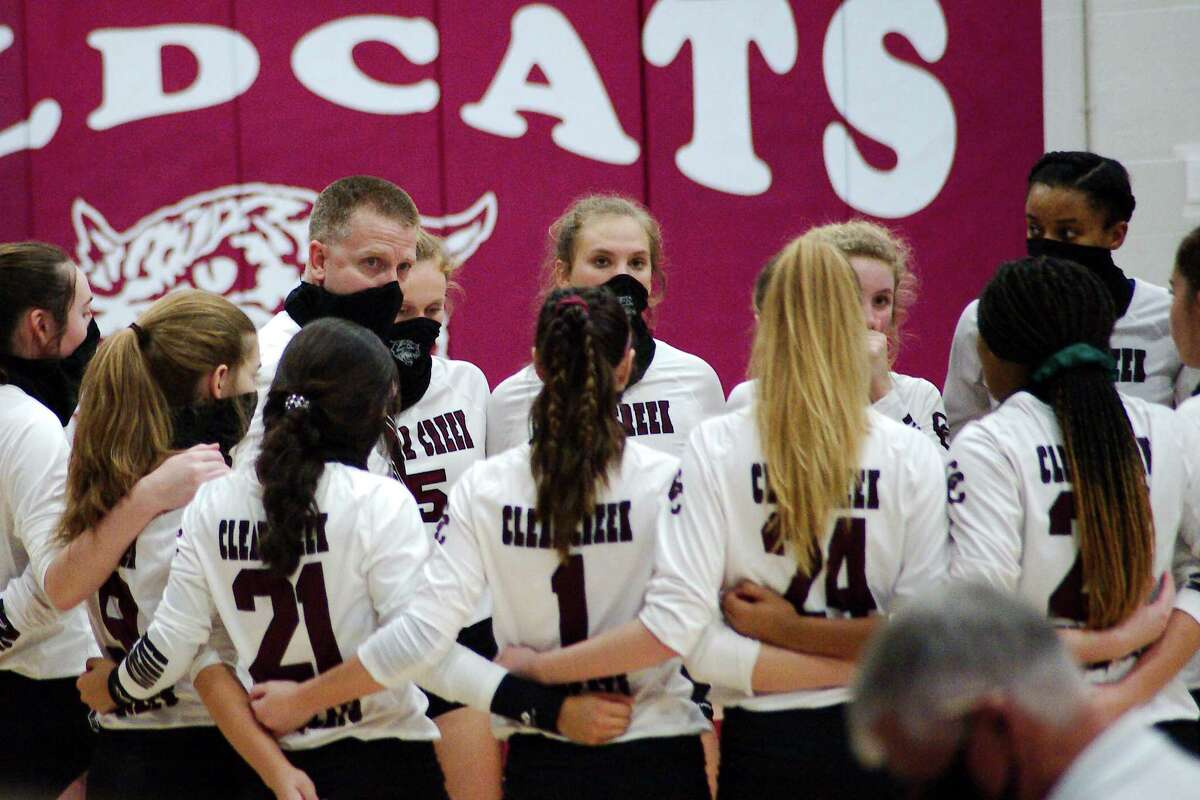 Clear Creek volleyball coach Scott Simonds speaks to his team during a break against Pearland Saturday, Nov. 21 at Clear Creek High School.