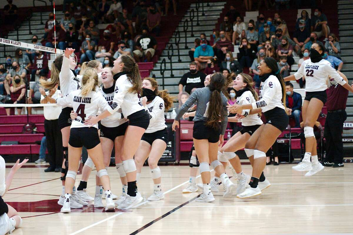Clear Creek celebrates after defeating Pearland in the Region III-6A bi-district playoff match Saturday, Nov. 21 at Clear Creek High School.
