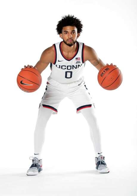 UConn sophomore guard Jalen Gaffney, 2020-2021 men's basketball season. Photo: UConn Athletics / Contributed Photo / Stamford Advocate Contributed