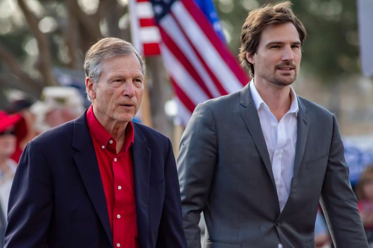 """Congressman Brian Babin and his son Lucas Babin. A number of Southeast Texas government officials spoke at the """"Fair Elections"""" rally hosted by the Golden Triangle Republican Women in Beaumont. Photo made on November 21, 2020. Fran Ruchalski/The Enterprise"""