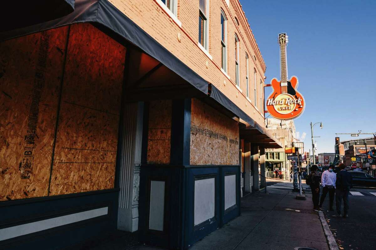 A boarded-up Hard Rock Cafe temporarily closed in Memphis on Nov. 15, 2020.