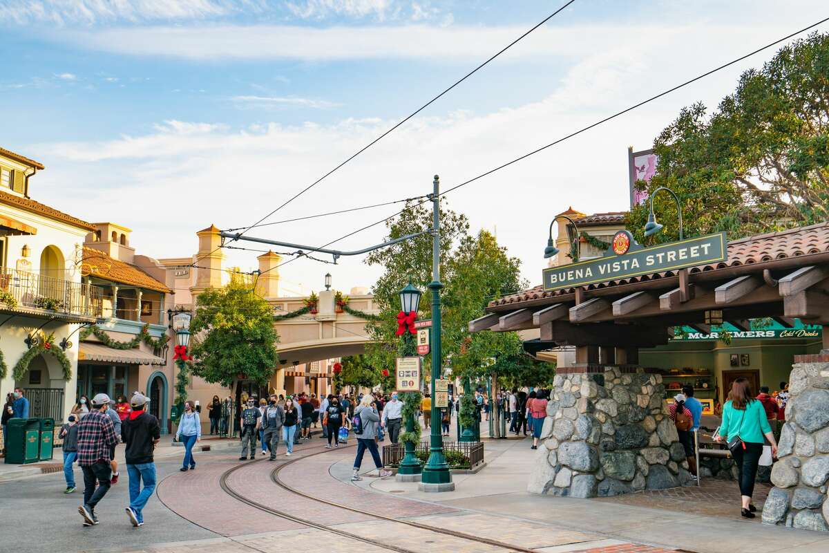 General views of Buena Vista Street at Disney California Adventure Park, partially reopened for outdoor food and shopping with new COVID-19 guidelines in place on November 21, 2020.
