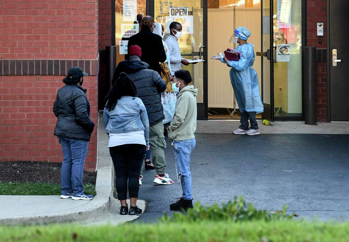 A line for coronavirus tests at the Angarai Testing Center in Silver Spring, Md., on Nov. 18. Experts say the winter is expected to bring a spike in virus cases much higher than seen the beginning of the pandemic.