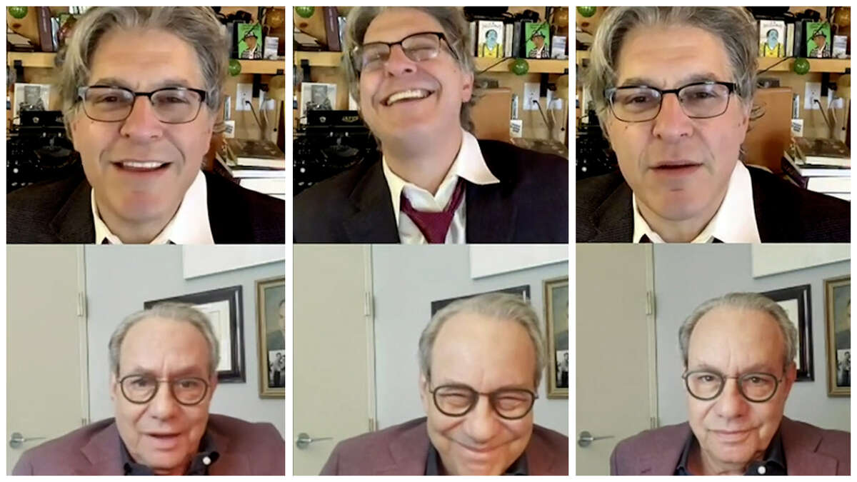 Geoff Edgers (top) and Lewis Black on Oct. 30 in Edgers' weekly Instagram Live show