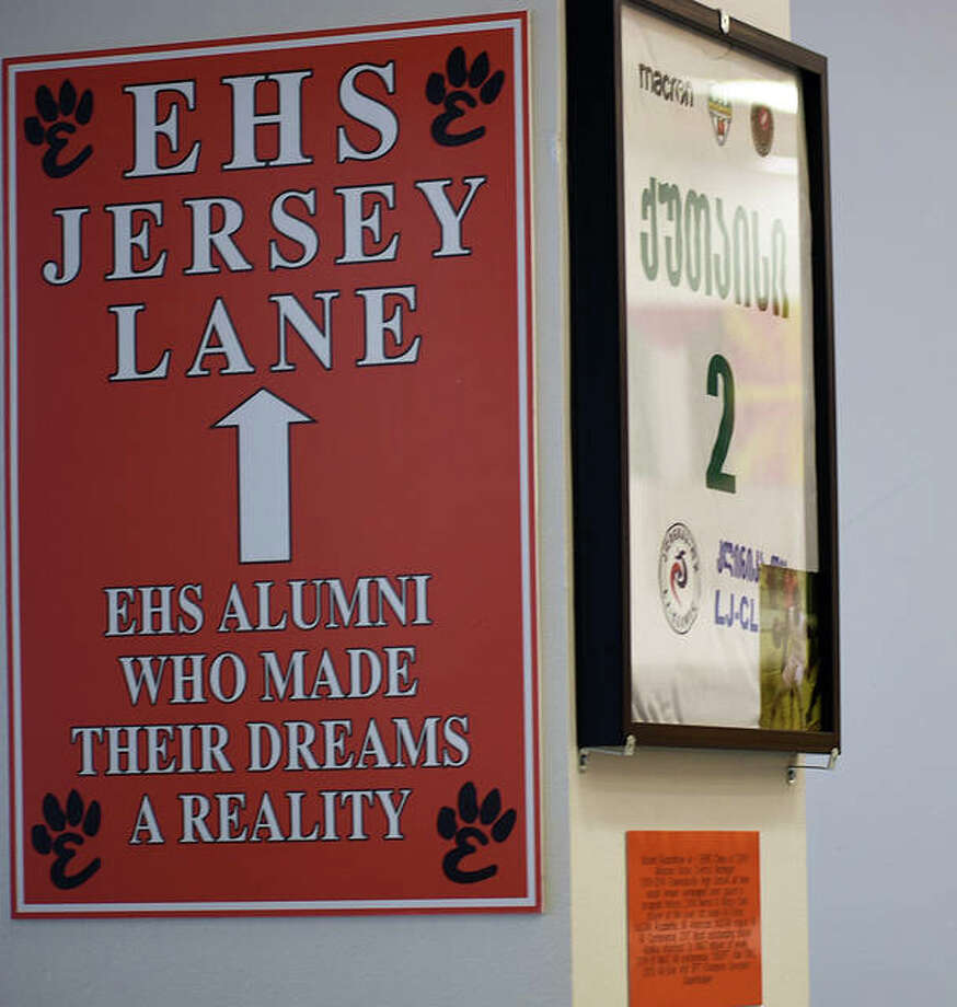EHS Jersey Lane sits inside the commons area of the high school and recognizes the achievements of graduates that have gone on to play at the professional or high-college level. Photo: Matt Kamp|The Intelligencer