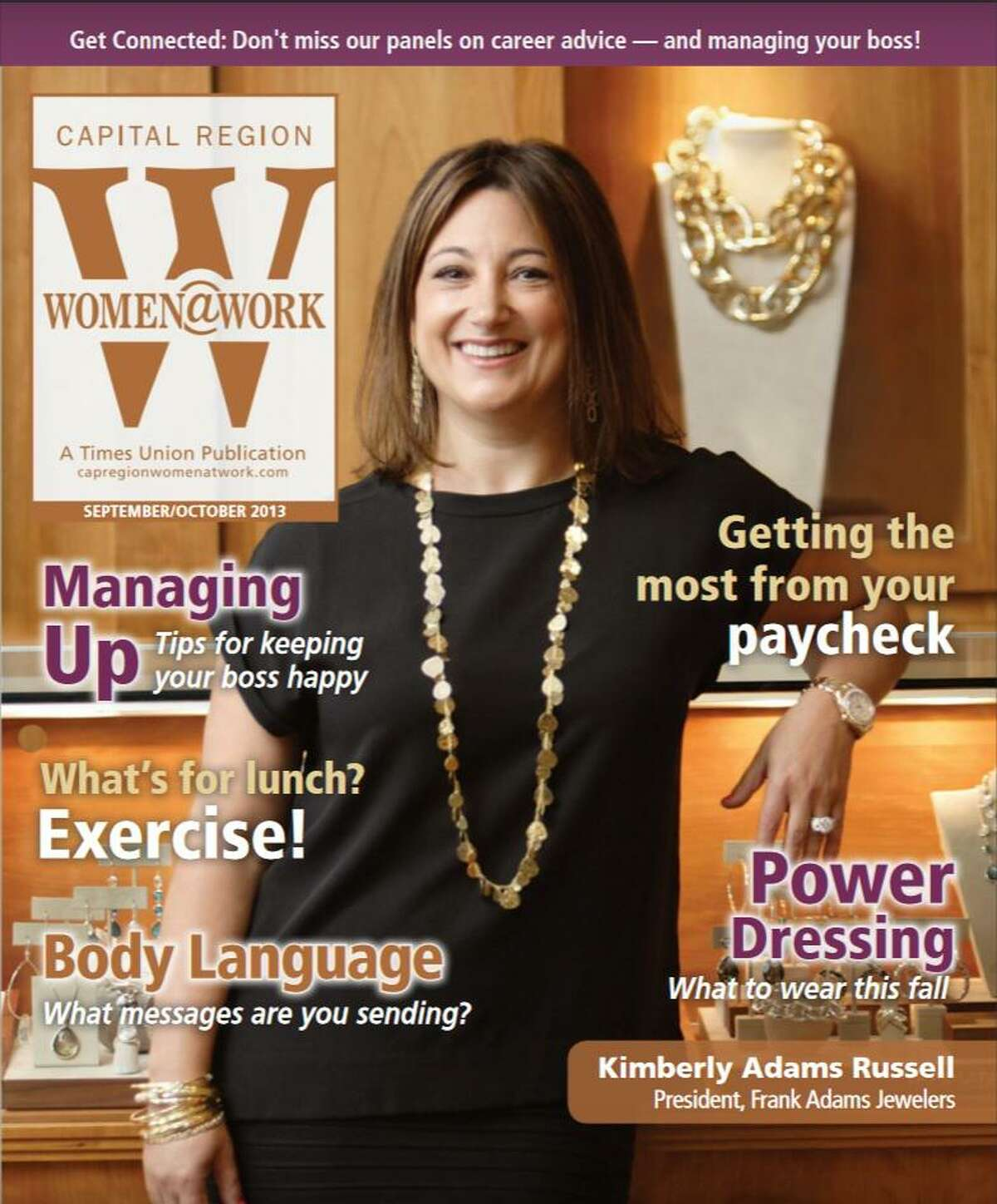 Kimberly Adams Russell on the September/October 2013 cover of Women@Work.