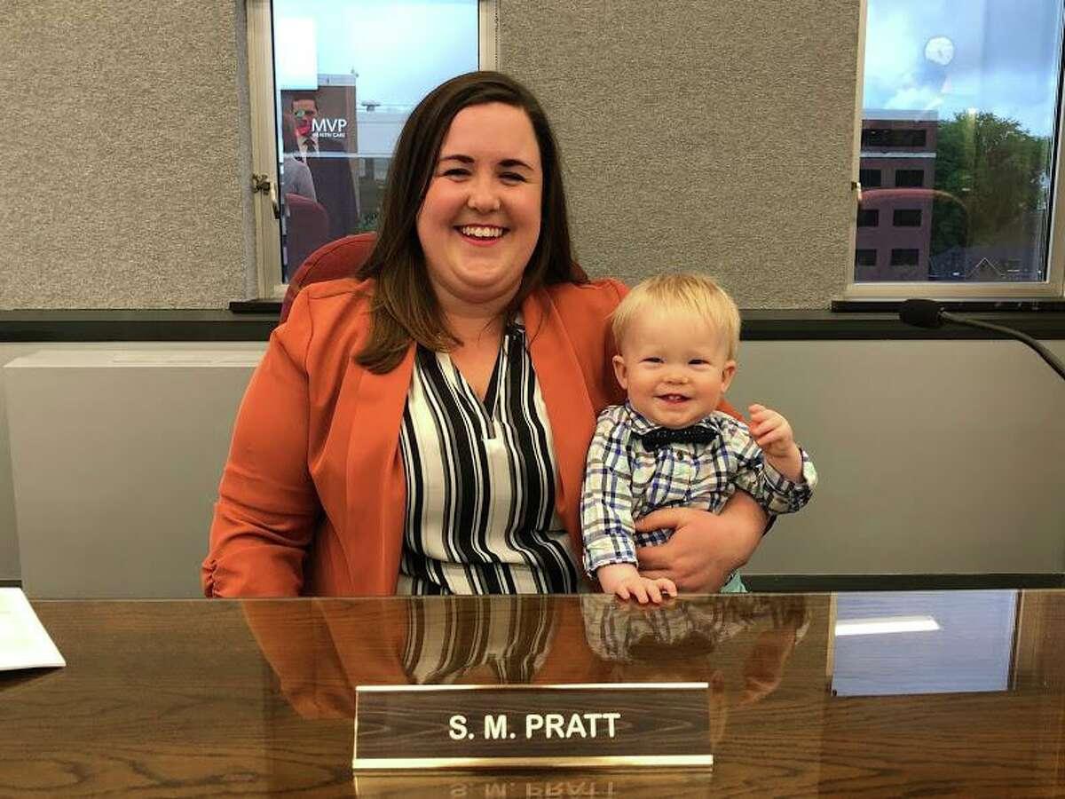 Sara Mae Pratt with her baby boy.