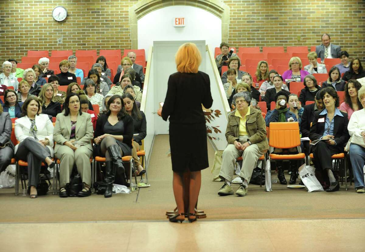 President of the Saile Group Anne Saile was the guest speaker during the Capital Region Women@Work Seminar held at Maria College April 18, 2012 in Albany, N.Y. (Lori Van Buren / Times Union)