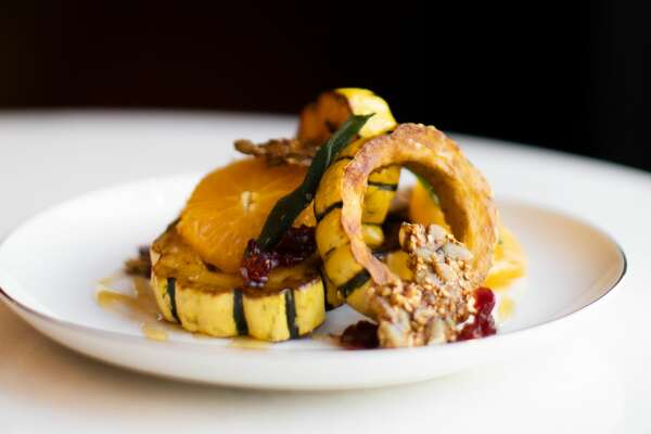 Delicata squash appetizer at The Nest in Schenectady, a sibling of The Cuckoo's Nest in Albany. (Elario Photography for The Nest.)