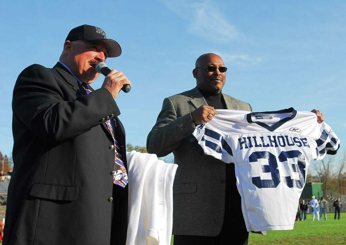 Reg0662Photo-Peter Casolino 10/26/06 New Haven-- New Haven Athletic Director Joe Canzanella addresses the crowd as former Hillhouse standout and NFL Hall of Famer Floyd Little had his number retired during the halftime of the Hillhouse Vs. Shelton Game .Photo-Peter Casolino After a remarkable career at Hillhouse, Little earned All-American honors at Syracuse from 1964-66 and graduated with a program record 2,704 yards. He broke Jim Brown's Syracuse record with 1,681 all-purpose yards in 1964 and broke that mark with 1,990 yards in 1965. Little was enshrined into the College Football Hall of Fame in 1983 and Pro Football Hall of Fame in 2010.